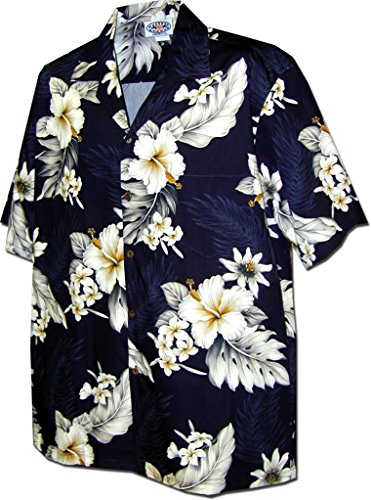 Pacific Legend Tropical Floral Hibiscus and Plumeria Hawaiian Shirt (M, Navy)