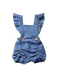 Iuhan Newborn Infant Baby Girl Denim Ruffles Romper Jumpsuit Sunsuit Outfits Clothes