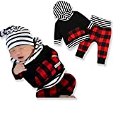 Newborn Baby Boy Girl 2pcs Outfit Long Sleeve Black Hoodie with Check Pocket Tops Plaid Long Pants Clothes