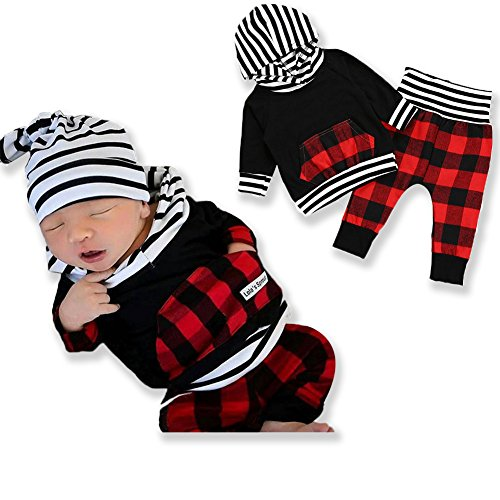 2pcs Outfit Newborn Baby Boy Girl Long Sleeve Black Hoodie with Check Pocket Tops Plaid Long Pants Clothes 0 -...