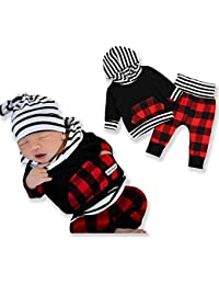 Baby Boy Girl Clothes Newborn Outfit Long Sleeve Black Hoodie Tops with Plaid Long Pants