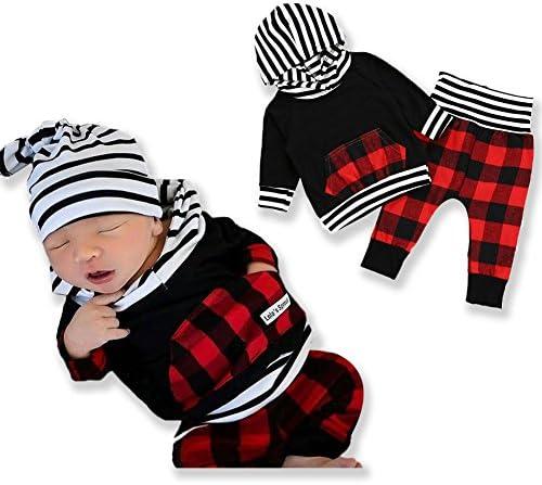 2pcs Outfit bebé recién nacido niño niña de manga larga Negro con capucha comprobar bolsillo Tops Tartán pantalones largos ropa