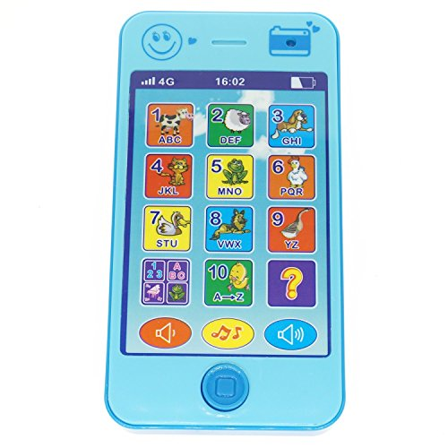 YOYOSTORE Blue Cell Mobile Phone Shape Toy Music Touch Screen Education Learning Game Play Cellphone Like for Baby Kids Girl Boy Xmas Gift
