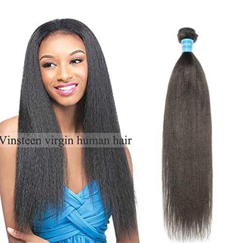 - Vinsteen Brazilian Virgin Human Hair Weave【 Yaki Straight 】Double Weft 1 Bundles 100% Unprocessed Hair Extensions For Women(12'')