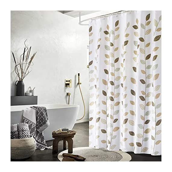 SHU UFANRO Shower Curtain Polyester Fabric Waterproof Shower Curtains for Bathroom Machine Washable - Fabric Shower Curtain: Made of durable polyester fabric with 12 plastic hooks, which is made to withstand moisture-rich bathroom environments. Waterproof: Water glides off and the curtain dries quickly. Small water beads form across the curtain, affording gentle water removal and swift curtain drying. Metal Grommets: This bathroom curtain features rust-resistant metal grommets along its reinforced top header. Keeps your curtain looking clean and fresh longer. - shower-curtains, bathroom-linens, bathroom - 51SxAucldYL. SS570  -