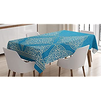 Traditional House Decor Tablecloth by Ambesonne, Eastern Old Fashion Arabesque Kaleidoscope Paisley Moroccan Heraldic, Dining Room Kitchen Rectangular Table Cover, 52W X 70L Inches, Blue