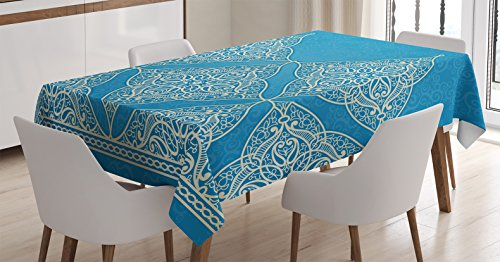 Ambesonne Traditional House Decor Tablecloth by, Eastern Old Fashion Arabesque Kaleidoscope Paisley Moroccan Heraldic, Dining Room Kitchen Rectangular Table Cover, 60W X 90L Inches, Blue