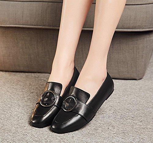 Ms. primavera ascensore scarpe basse scarpe single bocca fissati scarpe metalliche del piede con la testa quadrata superiore in scarpe delle signore scarpe basse , US8 / EU39 / UK6 / CN39