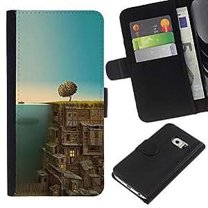 YiPhone /// Tirón de la caja Cartera de cuero con ranuras para tarjetas - Ciudad Subterránea - Samsung Galaxy S6 EDGE