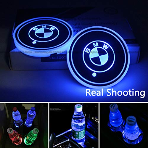 2pcs LED Car Cup Holder Lights for BMW, 7 Colors Changing USB Charging Mat Luminescent Cup Pad, LED Interior Atmosphere Lamp
