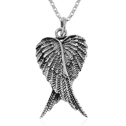 MIMI Sterling Silver Double Angel Wings Heart Feathers Pendant Necklace, 18 inches