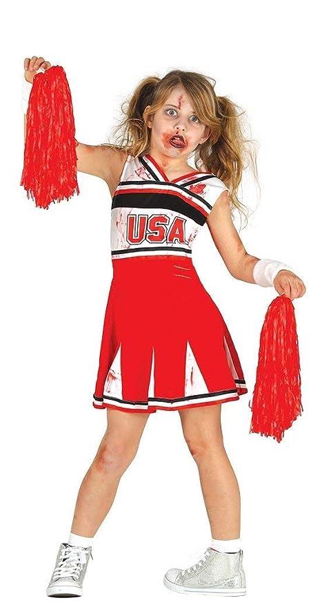 Zeus Party Vestito da Cheerleader Zombie con 2 PON PON Rossi Halloween  Carnevale Taglie Varie ( 1a63752591c