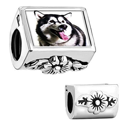 CharmSStory Dog Love Husky Animal Charm Flower Photo Beads Charmss For Bracelets