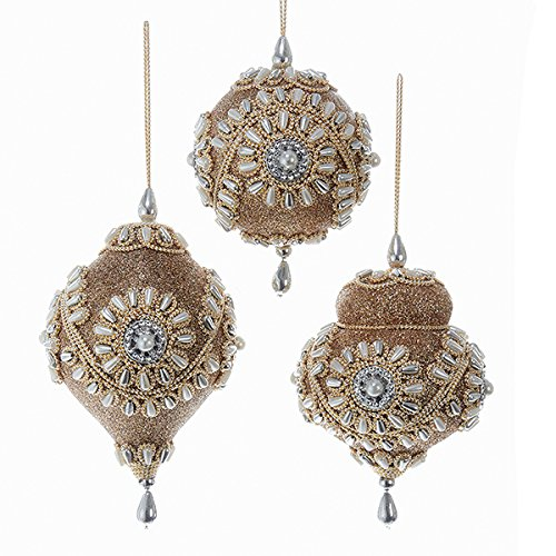 Christmas Tablescape Decor - Rose gold glitter, pearl, silver beading, and ecru trim ball and finial Christmas ornaments - Set of 3 assorted