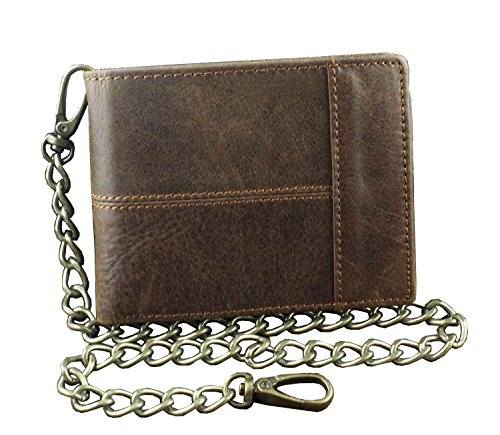 New Vintage Brown Leather Wallet With Chain Mens Bifold /Many Card Holder