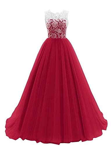 WHENOW Women's Sleeveless Lace Long Prom Dresses Party Ball Gowns