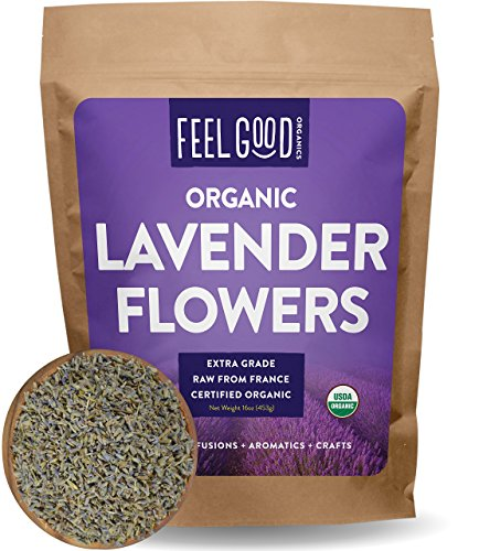 Organic Lavender Flowers Dried - Perfect for Tea, Baking, Lemonade, DIY Beauty, Sachets & Fresh Fragrance - 100% Raw From France - Jumbo 16oz Resealable Bag - by Feel Good Organics