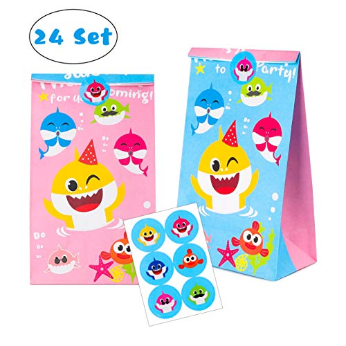 Why Should You Buy MALLMALL6 Little Shark Candy Treat Bags 24Pcs Birthday Party Shark Family Baby Sh...