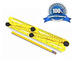 Angleizer Template Tool - Angularizer Ruler + 1 Unsharpened Wooden Pencil - For Professionals, Carpenter, Contractor & Architecture In Quilting Tiles Diy Project Angleizer Template Tool
