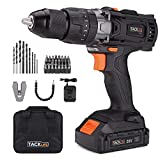 Tacklife PCD04B 20V MAX 2.0Ah Lithium-Ion 1/2″ Cordless Drill Driver Set with Hammer Function, 2-Speed Max Torque 310 In-lbs, 43pcs Accessories Included, 1 Hour Fast Charger
