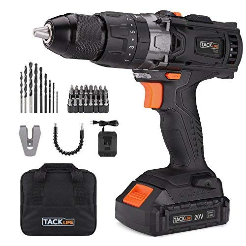 Tacklife PCD04B 20V MAX 1/2'' Cordless Drill Driver Set with Hammer Function, 2-Speed Max Torque 310 In-lbs, 43pcs Accessories Included, 2.0Ah Lithium-Ion Battery