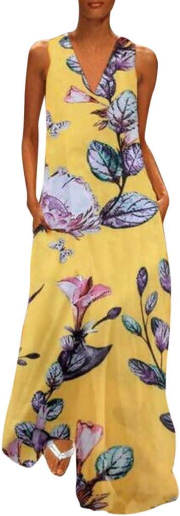 CAOQAO Elegant Damska Ballkleid Hochzeitskleid Festlich Dressurgerte Casual äRmellose V Ausschnitt Blumendruck Maxi Tank Langes Kleid: Odzież