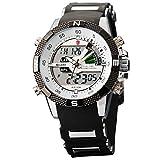 SHARK Men's Sport Dual Time LCD Display Alarm Chronograph Analog Digital Quartz Wrist Watch White Dial SH041