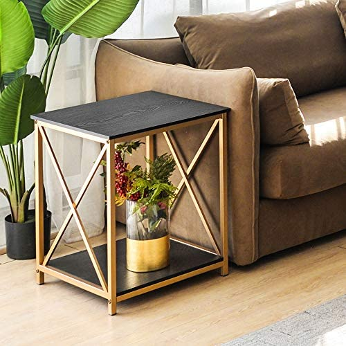 GHQME Industrial End Table,2-Tier Side Table with Storage Shelf,Sturdy Metal Frame,in Living Room Bedroom,Easy Assembly 19.7 x 19.7 x24 , X Shaped-Black