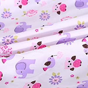 Wowelife Purple Elephant Nursery Set 100% Cotton Upgraded Flower Birds Elephant Crib Bedding Sets 8 Piece for Baby Girls and Boys with Bumpers and Blanket(Purple-8 Piece)