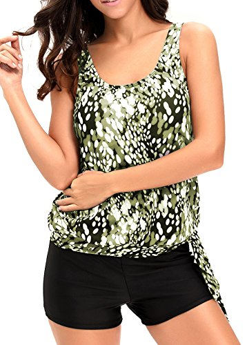 Aleumdr Womens dewdrop Printed Blouson Side Ties Padded Wire Free Tankini Top Swimsuits With Swim Shorts Plus 2XL Size Green