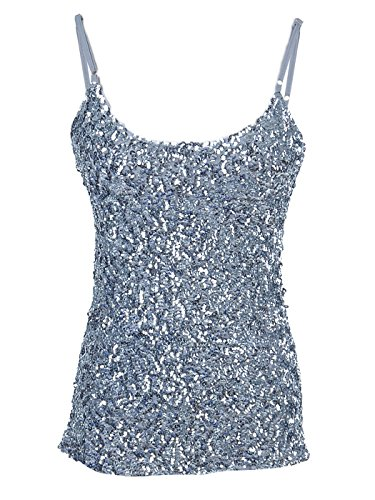 Anna - Kaci Womens Shimmer Sparkly Sequins Spaghetti Strap Camisole Vest Tank Tops, Silver, Small