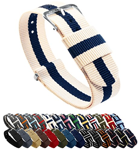 - BARTON Watch Bands - Choice of Color, Length & Width (18mm, 20mm, 22mm or 24mm) - Linen/Navy 20mm - Standard Length