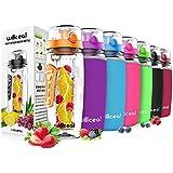 Willceal Fruit Infuser Water Bottle 32oz Durable, Large - BPA Free Tritan, Flip Lid, Leak Proof Design - Sports, Camping (Orange)
