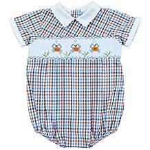 Carriage Boutique Carraige Boutique Baby Boy Blue Orange Creeper - Checkered Crabs