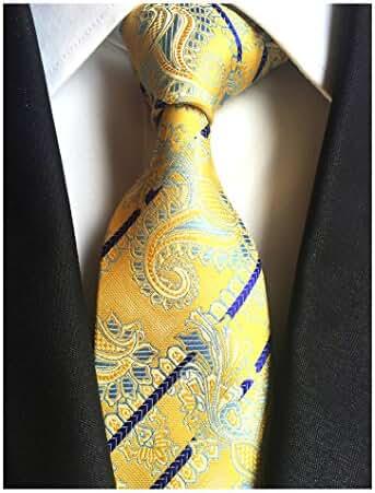 MENDENG Classic Navy Blue Paisley Jacquard Woven Silk Men's Tie Party Necktie