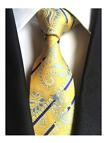 MENDENG Classic Navy Blue Paisley Jacquard Woven Silk Men's Tie Party Necktie