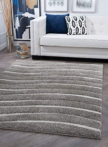 Tayse Waveland Gray 4×6 Rectangle Area Rug for Dorm, Kids, Baby, or Nursery Room – Shag, Stripe