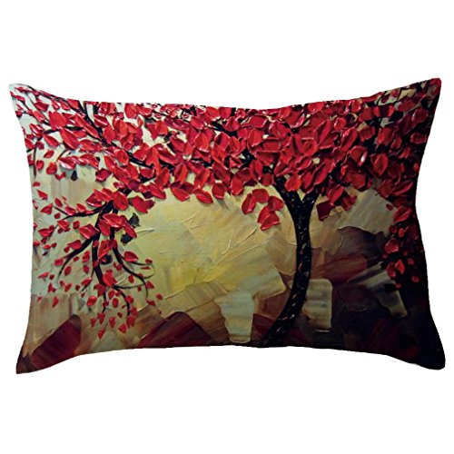 Zulmaliu Pillowcases, Tree Flower Landscape Art Design Rectangle 30cm x 50cm Hidden Zipper Closure Pillow Case (Multi B) ()
