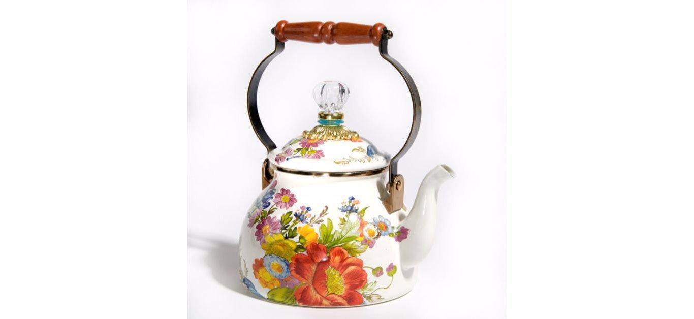 Flower Market White Two-Quart Tea Kettle, MULTI COLORS by MacKenzie-Childs (Image #1)