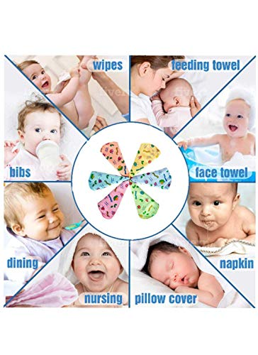 Mom Cares face Towels for Newborn Baby,wash Cloth for Babies, Extra Soft hankies,Reusable Napkins Ideal for Infants,Toddlers (Pack of 6) Multi Color