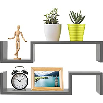 Greenco S Wall Mounted Floating Shelves Gray Finish, 2-Pack,