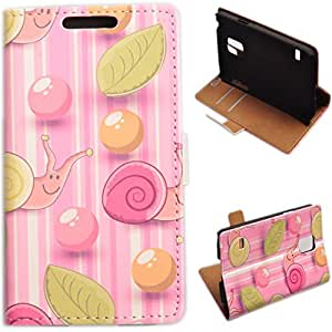 Einzige Slim Fit Leather Case Cover for Samsung Galaxy S5 Mini (Pink Snail and Leaves) with Free Universal Screen-stylus