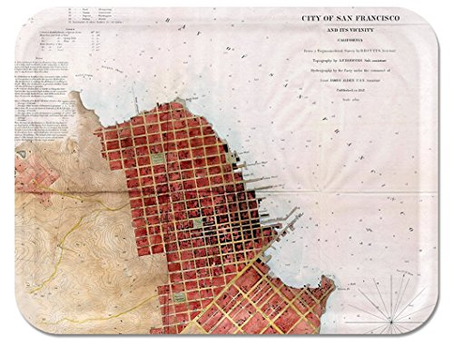 Trays4Us San Francisco Vintage 1853 16x12 inches (Large) Map Serving Tray - 70+ Different Designs ()