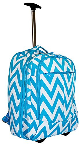 Ever Moda Teal Chevron Wheeled Laptop Backpack