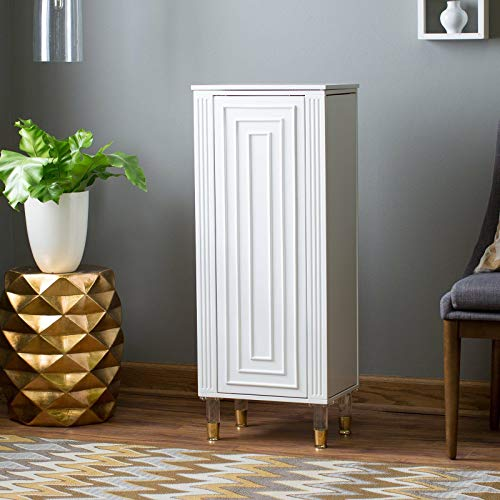 Home Collection Modern Luxe White Finish Freestanding Jewelry Armoire Storage Cabinet Box