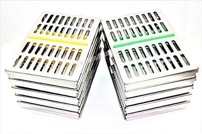 Set Of 10 Premium German Dental Surgical Autoclave Sterilization Cassettes Rack Box For 10 Instrument-cynamed Branded … …