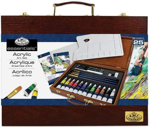 Royal Brush Caja de Madera Art Set Pintura acrílica Juego de 25 ...
