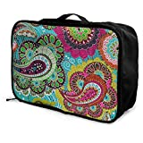 Travel Bags Simple Colorful Paisley Portable Foldable Custom Personalized Trolley Handle Luggage Bag