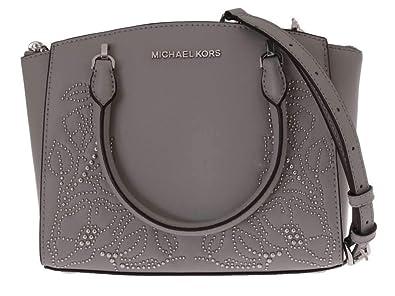 97b2566127 Michael Kors Women's Ellis Small Convertible Leather Gold Toned Studs  Satchel Crossbody Bag Purse Handbag (