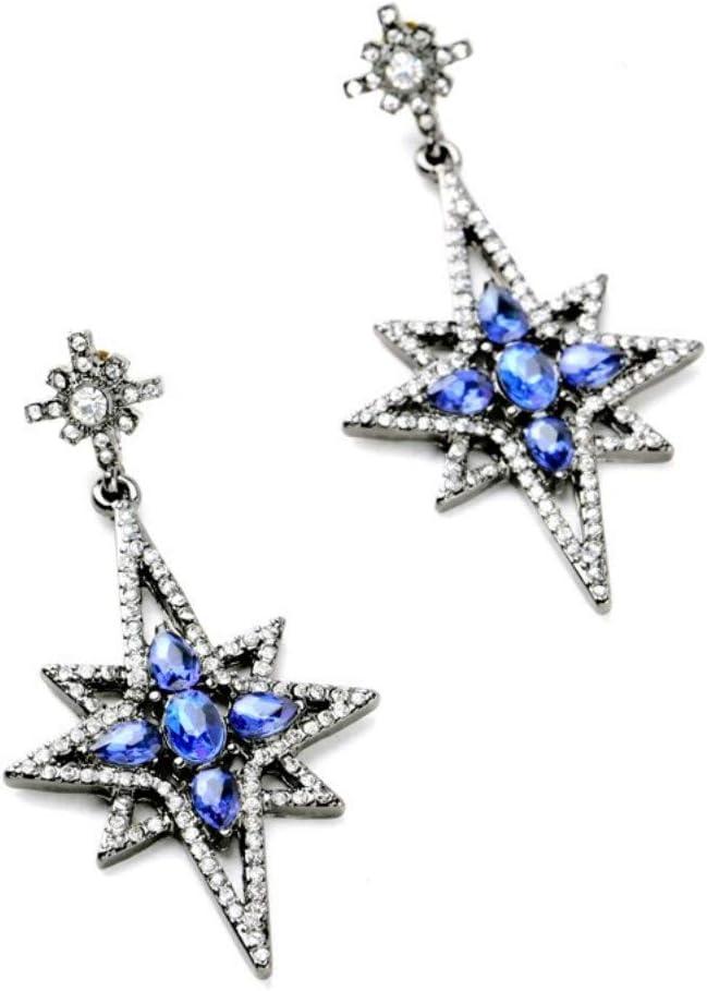 ZHWM Aretes Pendientes De clip Aros Joyería Increíble Estrella Azul Pendientes De Gota De Cuarzo para Las Mujeres Niñas Accesorios De Regalo